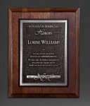 Walnut Panel; Silver Tone Plate Employee Awards