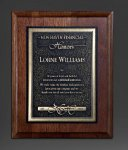 Walnut Panel; Gold Tone Plate Employee Awards